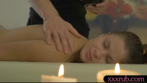 Charming brunette massaged by lucky masseur