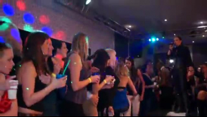 Brunette ladies with big, juicy tits are having a hardcore group sex adventure at a karaoke club