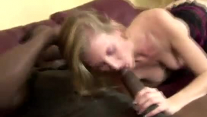 Blonde sucking a black dong before four dudes