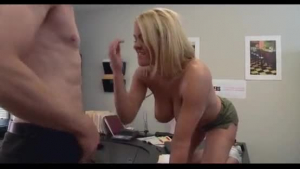Lovely blonde secretary with red hair, Krissy Lynn is having anal sex with a horny boss