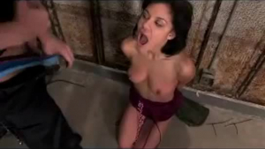 Beautiful woman in a tight dress got fucked while tied up, in the basement
