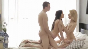 Impudent bitch, Katy Skyfro is about to have sex with two horny guys at the same time