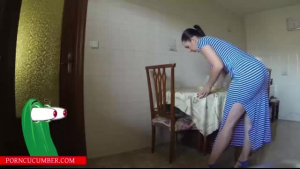 Uniformed lady likes to have casual sex on the floor in a hotel room, until she cums