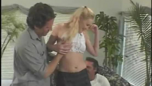 Pigtailed teen, Katrin Star got filled up with two cocks and one huge dick at the same time