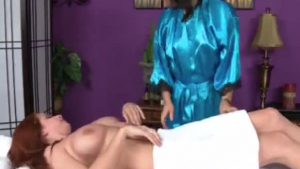 Asian masseuse and red haired nurse, Suzu Chui enjoys keeping her client satisfied or at least relaxed