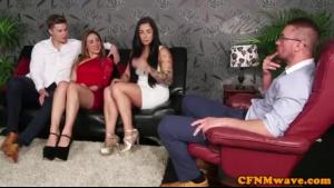 Glamorous CFNM blonde seduces sub for doggystyle banging