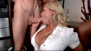 Super hot Italian CFNM babe showing pussy and giving head