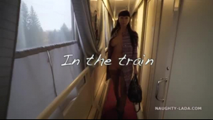 Naughty teen scout sucks a stranger in the train