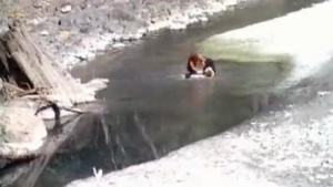 Amazing teens kissing in the river