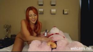Busty babe irritation fucked by a teddy bear