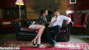 Two gorgeous British babes pleasures their pussys with a strapon