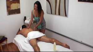 Hot oriental masseuse jerks off cock with her hands
