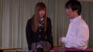 Cute japanese schoolgirl gets tied up by teacher who needs to keep his virgin