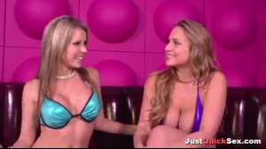 Two horny blonde girls, Chloe and April are playing with their new sex toys a lot
