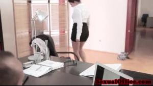 Busty babe secretary girls stripping on the floor
