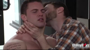 Kinky guy licked his best friend's nice ass, before using a glass dildo to make it wet
