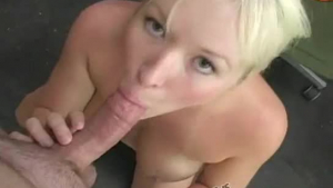 Horny blonde slut giving head then getting pounded in a done up sorority scene