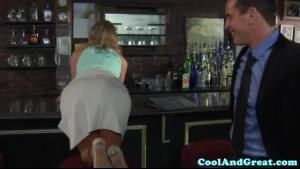 Busty blonde secretary spoiling everyones cock