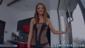 Naughty redheads, Lena Paul and her step- daughter are sharing a rock hard cock while on the sofa
