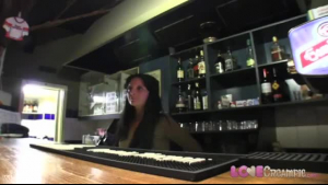 Sweet barmaid in pigtails spreading her sizzng pussies wide