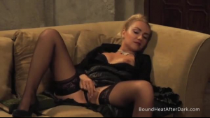 Two naked lesbian amateurs are making love in front of a fire place, with a guy