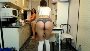 Two hot ladies are making love with a guy who is slowly eating their nice asses