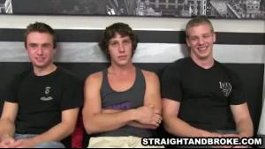 Amazing brunette diva sucking on three black guys