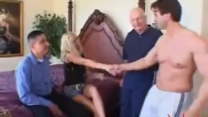 Petite blonde fucked by three guys in here