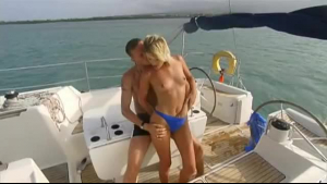 Petite blonde hooker blows and rides male clients massive cock on the boat