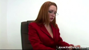 A horny secretary sucks and fucks