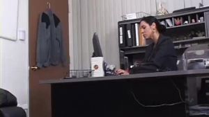 Astonishing, Japanese brunette with big boobs is getting fucked in a doggy style position, in the office