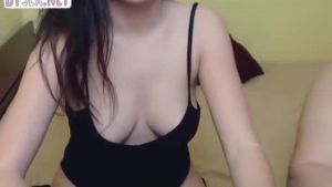 Busty amateur chick is masturbating very intense, while her partner is stimulating her very ass