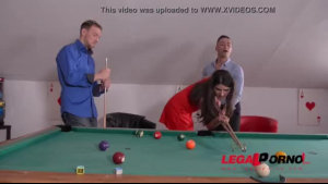 Inked Japanese teen gets double penetrated on pool table