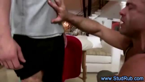 Horny gay masseur fucking his client