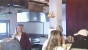 Fat blonde and her lesbian friends are scaring a perv guy in front of a fire place