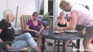 Lesbians having an outdoor threesome