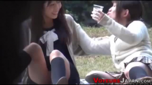 Asian teen na na peeing outdoors and naked