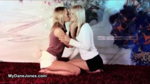 Two horny lesbian chicks were making love, while their neighbor was watching them in action