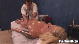 Curvy girl is on the massage table, getting fucked by a doctor whose girlfriend.