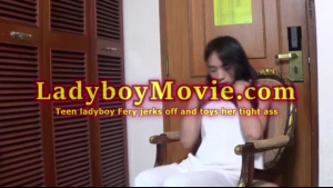 Slim ladyboy perfect tits after solo action