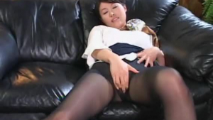 Hot redheaded boss was caught masturbating by her top flight employees, who gave her a good anal fuck