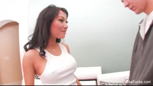 Asa Akira likes to ride her boss's dick and to have a good fuck first