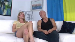 Sensitive babe with blue nails is getting fucked on the couch and screaming from pleasure while cumming