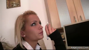 Sexy blonde bitch in white stockings is stretching her ass, while in the bathroom