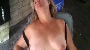 Frisky lesbo stepdaughter works out her dirty mouths on the patio