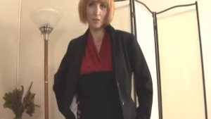 English mature in fishnets tugging dick while filming