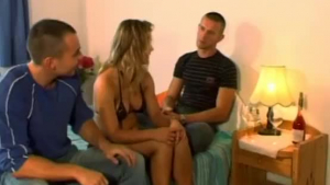 Chubby, red haired girl got fucked in her bedroom, by two guys at the same time