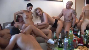 A huge group of sexy girls are giving pleasure to their male friends in their huge party