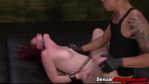Interracial BDSM slave sucks and gets ripped