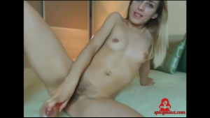 Young blonde shows her hairy doc